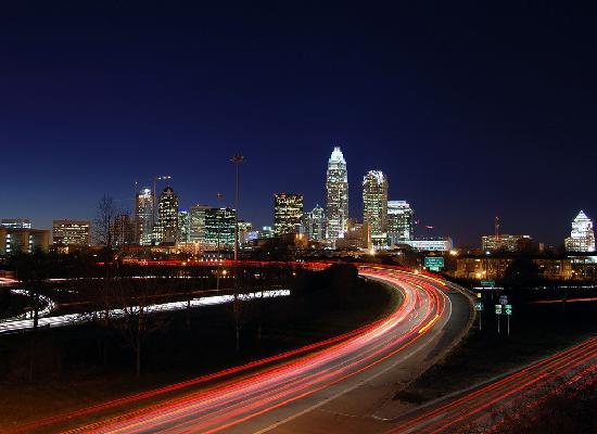 Charlotte, North Carolina at night.