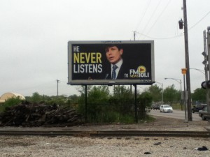 One failed FM News marketing ploy: this billboard featuring former Ill. Gov. Rod Blagoveich.