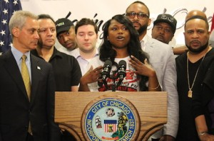 Power 92's Frankie Robinson, at a press conference with Mayor Emanuel. (DNA Info/Ted Cox)