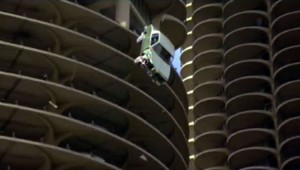 "Car falling from the towers in ""The Hunter""."