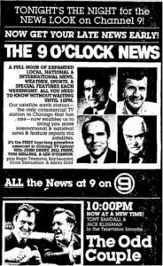 "Chicago Tribune ad for new 9 pm newscast and ""Odd Couple"" reruns from March 10, 1980. (Chicago Tribune)"